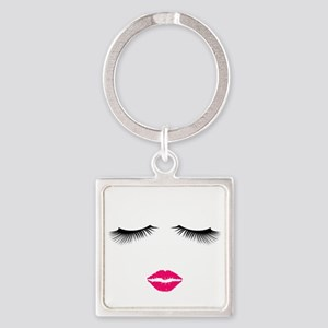 Lipstick and Eyelashes Keychains